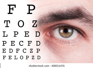 Eye test vision chart with man eyes background