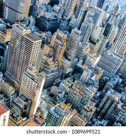 Bird's eye view over midtown Manhattan, New York City.