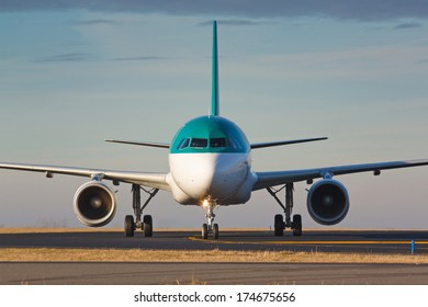 Eye to eye view with taxiing plane