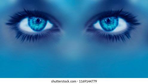Eye vision abstrakt background future blue visual concept