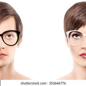 Eye wear glasses half man half woman portrait, wear spectacles