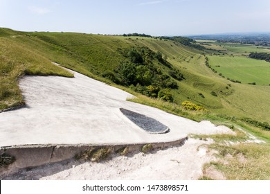 Eye of the White Horse on hill in Wiltshire, England, which was carved into chalk grassland in the late 1600s, created to commemorate King Alfred's victory at the Battle of Eoandun in 878.