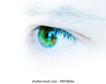 Eye of a young man, close up