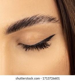 Eyebrow. Eyelashes extensions. Close up