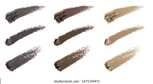 Eyebrow liquid. Color palette. Brow mascara. Eyebrow pencil . Isolated on white background.