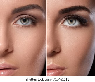 Eyebrow microblading and eyelash extension. Difference between female eyes after makeup.