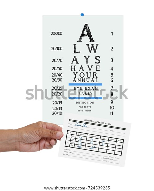Eyeglass Prescription Form Eye Chart White Stock Photo (Edit Now