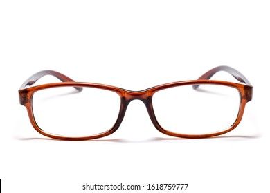 Eyeglasses with brown frame  (Myopia glasses) isolated on white background.