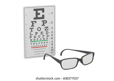 Eyeglasses and eye chart, 3D rendering isolated on white background