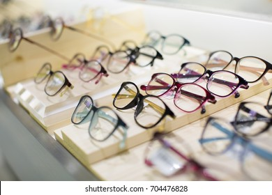 Eyeglasses Nicely Placed in Rows