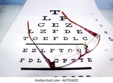 Eyeglasses on paper for eyesight test