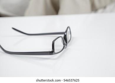 Eyeglasses on a table
