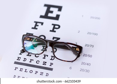 Eyeglasses on table of check of vision close up - Myopia or hyperopia