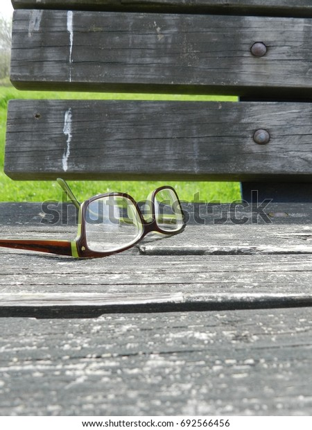 Eyeglasses on wooden bench in the park