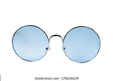 Eyeglasses/Round glasses blue color lens isolated on white background with clipping path.