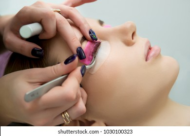 Eyelash Care Treatment Procedures: Staining, Curling, Laminating and  Extension for Lashes.  Beauty Model with Perfect Fresh Skin and Long Eyelashes. Skincare, Spa and Wellness. Close up.