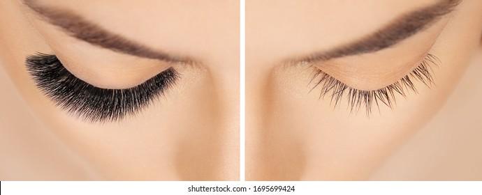 Eyelash Verlängerungsverfahren vor dem darauf folgenden. Falsche Wimpern. Nahaufnahme von Frauenaugen mit langen Aschen im Schönheitssalon. Augenaschentfernung, Nahaufnahme.