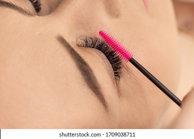 Eyelash extension procedure. Close up