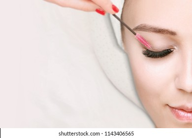 Eyelash Extension Procedure. Close up view of beautiful Woman with Long Eyelashes. Stylist holding brush,   tweezers, tongs and making lengthening lashes for girl in a beauty salon.