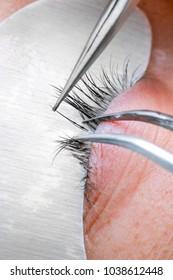 Eyelash extension procedure, woman eye with Long eyelashes