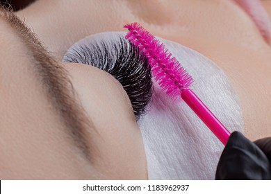 Eyelash extension procedure. Woman master combs lashes
