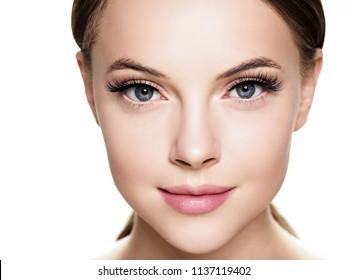 Eyelashes woman eyes face close up with beautiful long lashes isolated on white