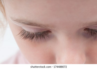 Eyelashes of a young girl.