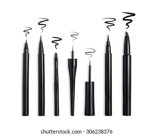 Eyeliners and strokes isolated on white