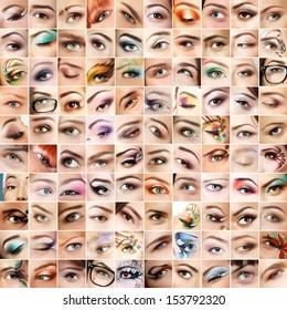 Eyes 100 set. Collage of beautiful female eyes with makeup. Isolated over white background