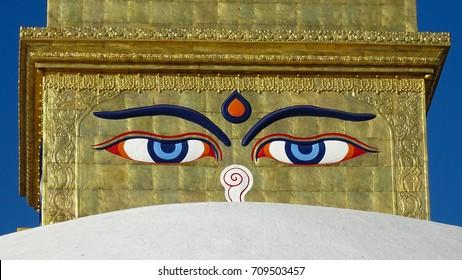 Eyes of the Buddha on the  Bodhnath Stupa in Kathmandu, Nepal