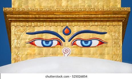 Eyes of the Buddha on the Boudhanath stupa in Kathmandu ,Nepal.