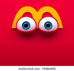 EYES CARTOON. Mouth of character on a red background. Concept mimicry face of a cartoon McDonald's box. 3d render.