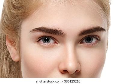 Eyes. Closeup shot of blonde woman eye with day makeup