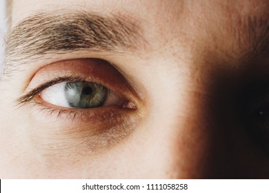 eyes and eyelashes close-up. macrophotography. iris of the eye. pupil. blood vessels in front of eyes