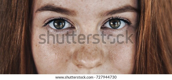 Eyes face beautician freckles teenager portrait with healthy skin and red hair,foxy hair, ginger girl