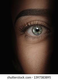 eyes hidden in shadow  spying concept