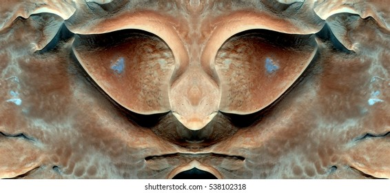 The eyes of hungry,Tribute to Dalí, abstract symmetrical photograph of the deserts of Africa from the air, aerial view, abstract expressionism,mirror effect, symmetry,kaleidoscopic photo,