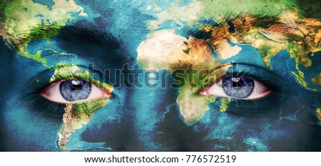 Eyes Integrated World Map Stock Photo Edit Now 776572519