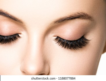Eyes lashes woman closeup isolated on white macro
