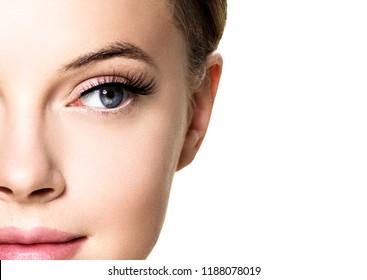 Eyes lashes woman closeup isolated on white macro