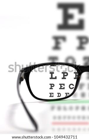 Eyes Test Chart Sharp Focus Eyeglasses Stock Photo Edit Now