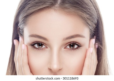Eyes Woman happy young beautiful studio portrait with healthy skin