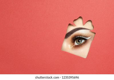 The Eyes of the Young Beautiful Woman with Bright Golden Shadows and Expressive Eyebrows, Looks in the Gift Box Pattern out of Colored Paper.  Christmas Patterns. Red Paper