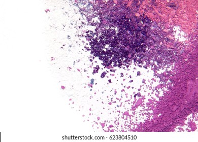 Eyeshadow Cosmetic Powder Scattered Copy Space. various cosmetic set isolated on white background. The concept of fashion and beauty industry. Abstract, place text, the texture of mineral makeup