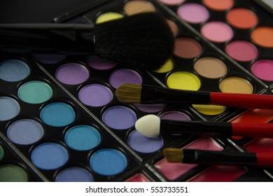 Eyeshadow Palette. Decorative cosmetics. Makeup brushes.