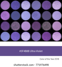 Eyeshadow palette as an example of the trend colour of the year 2018, Ultra Violet, with corresponding colour hex.