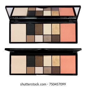 Eyeshadow palette with mirror isolated on white background.