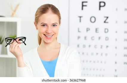 eyesight check. woman with  glasses at the doctor ophthalmologist optician