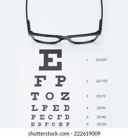 Eyesight test chart with glasses - studio shot - 1 to 1 ratio