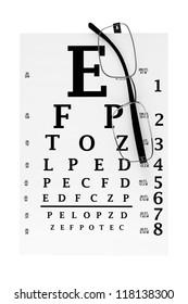 Eyesight test chart with modern reading glasses extreme closeup